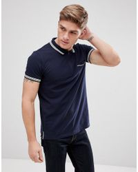 Esprit - Polo With Zip Placket And Striped Tipping - Lyst