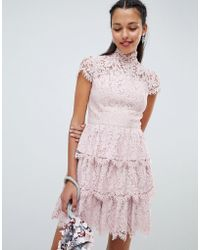 Chi Chi London - Tiered Lace High Neck Skater Dress - Lyst