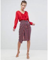 Vesper Stripe Wrap Skirt - Red