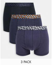 TOPMAN Confezione da 3 paia di boxer aderenti neri e blu navy con fascia - Nero