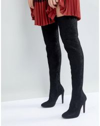 Call It Spring - Black Over The Knee Boots - Lyst