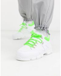 Truffle Collection Neon Chunky Trainer - White