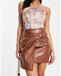 Naanaa Pu Front Twist Skirt - Brown
