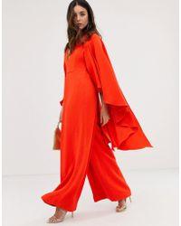 ASOS Cape Wide Leg Jumpsuit - Red