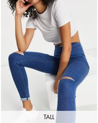 Missguided Vice Jeans With Distressed Knee - Blue