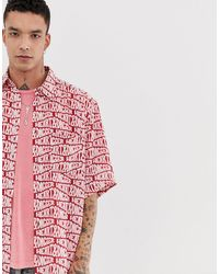 Heart & Dagger All Over Branded Repeat Shirt - Red