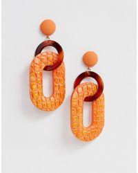ASOS Earrings In Linked Open Shape Resin And Faux Leather In Orange