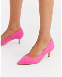 Faith Chariot Pink Mid Heel Court Shoes