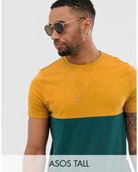 ASOS Camiseta verde en tejido orgánico con canesú en contraste - Amarillo