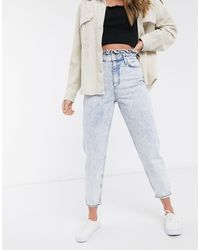 Miss Selfridge Mom Jeans With Frill Top - Blue