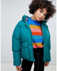 Missguided - Hooded Padded Jacket In Teal - Lyst