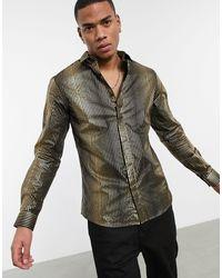 Twisted Tailor Рубашка В Черную И Золотую Полоску С Эффектом Металлик -золотистый