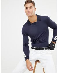 J.Lindeberg - Golf Elias Slim Fit Long Sleeve Polo In Navy - Lyst