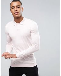 ASOS - Knitted Muscle Fit Polo In Dusty Pink - Lyst