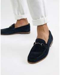 Moss Bros Moss London Loafers In Blue Suede