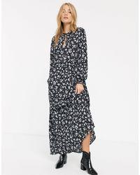 New Look Свободное Платье С Длинными Рукавами, Завязкой На Шее И Цветочным Принтом -мульти - Черный