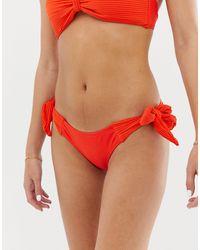 Lost Ink Pleated Tie Side Bikini Bottoms - Orange
