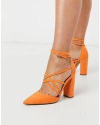ASOS Pick Me Up Tie Block Heels - Orange