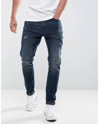 Casual Friday - Regular Fit Jeans With Distressing In Dark Blue Wash - Lyst