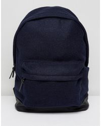 ASOS - Backpack In Navy Melton With Faux Leather Base - Lyst