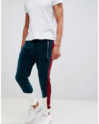 ASOS - Skinny joggers In Velour With Colour Blocking Panels - Lyst