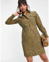Y.A.S - Мини-платье Цвета Хаки С Вышивкой Ришелье Broderie-зеленый Цвет - Lyst