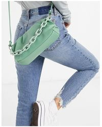 Glamorous Slouchy Pillow Adjustable Cross Body Bag With Resin Chain Link Handle - Green