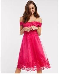 Chi Chi London Chi Chi Ryan Lace Detail Prom Dress - Pink