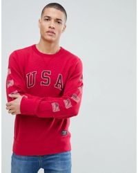 Abercrombie & Fitch - Americana Usa Logo Crew Neck Sweatshirt In Red - Lyst