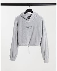 The Couture Club Velour Hoodie - Grey