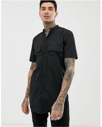 ASOS Extra Lang Regular-fit Overhemd - Zwart