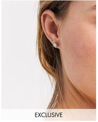 Reclaimed (vintage) Inspired - Boucle d'oreille barre avec pierres baguette - Métallisé