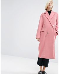 ASOS | Wool Mix Overcoat With Pearl Fastening | Lyst