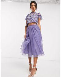 Needle & Thread Фиолетовая Юбка Миди Из Тюля -синий - Пурпурный