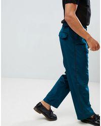 ASOS Velvet Wide Leg Smart Trouser With Side Stripe - Blue