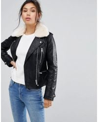 Warehouse - Faux Fur Collar Leather Look Jacket - Lyst