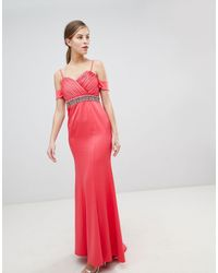 Little Mistress Off Shoulder Maxi Dress With Embellished Waist - Pink