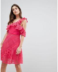 Three Floor Кружевное Платье На Одно Плечо С Оборкой -розовый Цвет