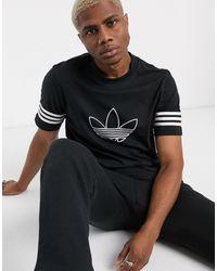 adidas Originals T-shirt With Outline Trefoil Logo - Black