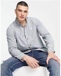 Pretty Green Cord Shirt With Grandad Collar - Blue