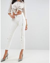 ba1670c00044 ASOS - Asos Premium Whitby Low Rise Skinny Jeans In Natural Tone With Lace  Up Front