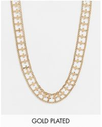 Regal Rose Chunky Double Cross Chain Necklace - Metallic