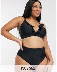 Simply Be Bikini Top With Ruffle Trim - Black