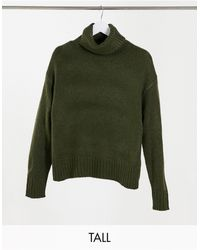 New Look Ribbed Knitted Roll Neck Sweater - Green