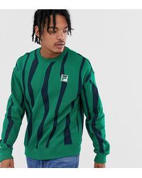 Fila - Sweater Met Badge In Groen Exclusief Bij Asos - Lyst