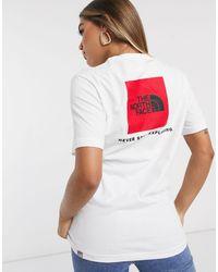 The North Face Camiseta blanca con recuadro rojo - Blanco