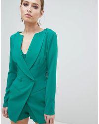 Lavish Alice Tuta corta stile blazer doppiopetto - Verde
