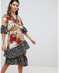 Y.A.S - Mix Print Tiered Midi Ruffle Dress - Lyst