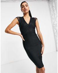 Lipsy Bandage Midi Dress With Lace Sleeves - Black