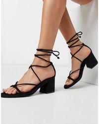 Pull&Bear Strappy Mid Heels Sandals - Black